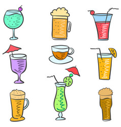 Doodle set drink colorful various vector