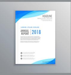 Elegant blue wave business brochure template vector