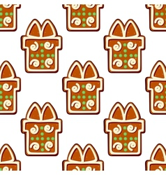 Gingerbread gifts and presents seamless pattern vector image vector image