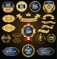 Gold and blue retro sale badges and labels vector