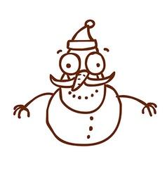 Hand Drawn Snowman vector image