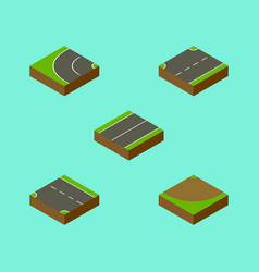 Isometric way set of plane way turn and other vector