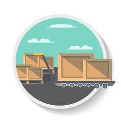 Logistics icon with delivery boxes on truck vector