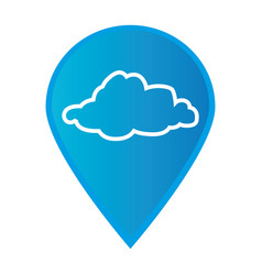 Mark icon pointer gps with silhouette cloud icon vector