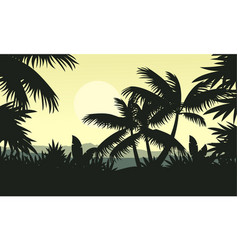 Palm tree silhouette on jungle scenery vector