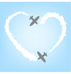 Plane with smoke in the form of heart vector