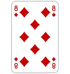 Poker playing card 8 diamond vector image vector image