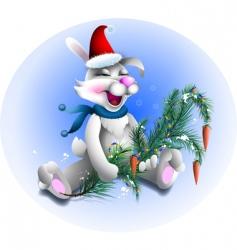 Santa rabbit vector image