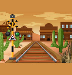 Scene with train track in western town vector