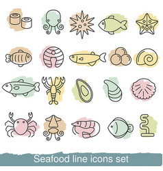 seafood line icons seafood line icons vector image vector image
