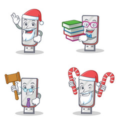 Set of flashdisk character with santa candy book vector