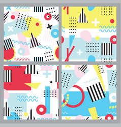 set of seamless patterns in memphis style vector image vector image