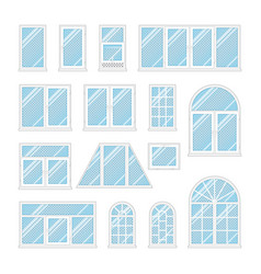 set windows with transparent blue glass vector image vector image