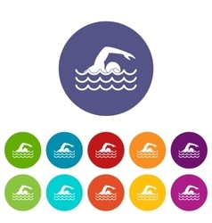 Swimmer set icons vector image vector image