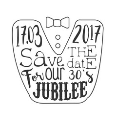 Thirty years jubilee black and white invitation vector