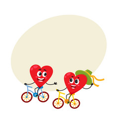 Two hearts cycling together riding bicycles vector