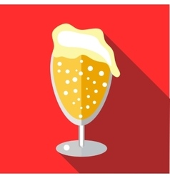 Wine goblet of beer icon flat style vector