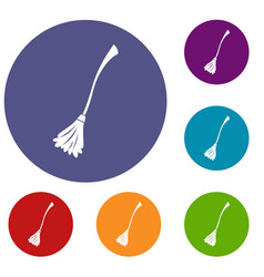 Witches broom icons set vector