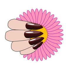 woman hand with nice manicure and flower vector image vector image