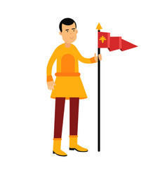young standard bearer holding a red banner with a vector image