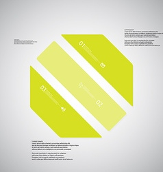Octagon template consists of three green parts on vector