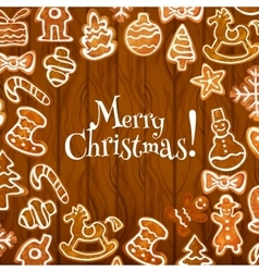 Christmas cookie poster on wooden background vector