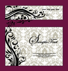 Purple swirls frame wedding invitation vector