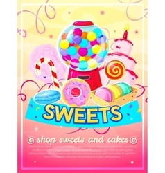 Sweets shop poster vector