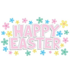 Happy easter text with flowers vector
