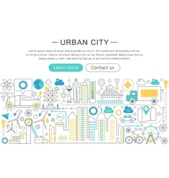 Modern line flat design urban city concept vector