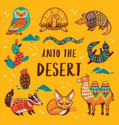 Set with cartoon animals of desert vector