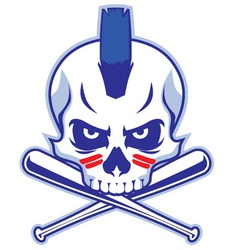 Skull and crossed baseball bat vector