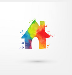 Rainbow grungy watercolor home icon inside vector