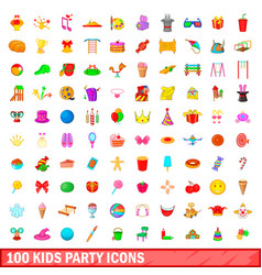100 kids party icons set cartoon style vector image
