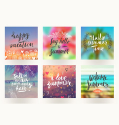Summer holidays and vacation greeting cards vector