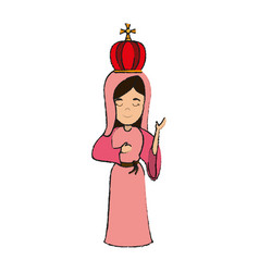 Virgin mary with crown holy family icon image vector