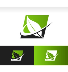 Swoosh green leaf panel logo icon vector