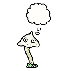 Cartoon mushroom with thought bubble vector