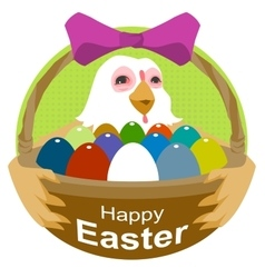 Hen holding basket with easter eggs happy easter vector