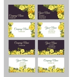 Set of four double-sided floral business cards vector
