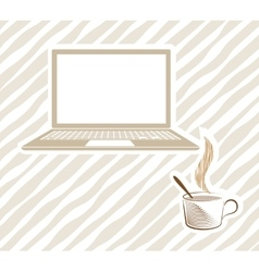 Open laptop with coffee vector
