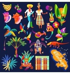 Caribbean island icon set vector
