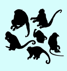 ape and monkey action silhouette vector image vector image