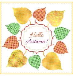 Autumn background with bright leaves vector