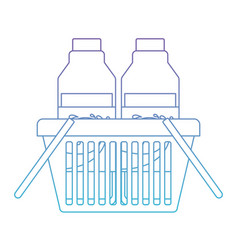 basket shopping with milk bottles in degraded vector image vector image