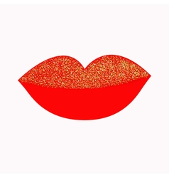 Big full thick red lips with gold glitter on white vector image