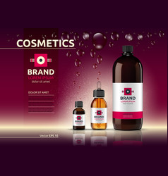 body care cosmetic set serum oil and cream ads vector image vector image