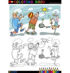 children playing ball cartoon for coloring vector image vector image