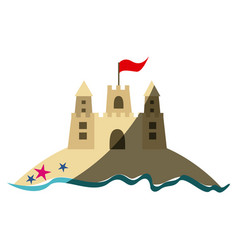 Color silhouette with beach and sandcastle with vector