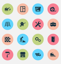 construction icons set collection of equipment vector image vector image